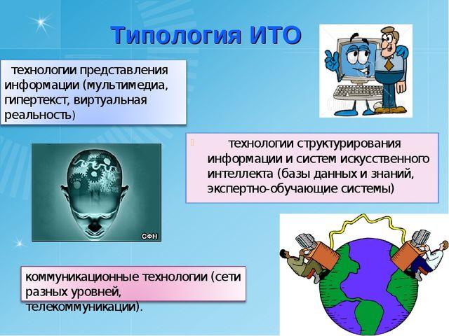 Типология ИТО технологии структурирования информации и систем искусственного...