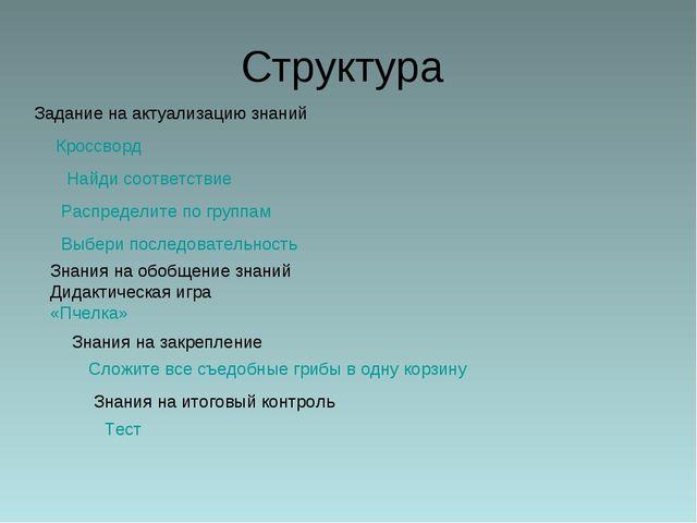 Структура Задание на актуализацию знаний Знания на обобщение знаний Дидактиче...