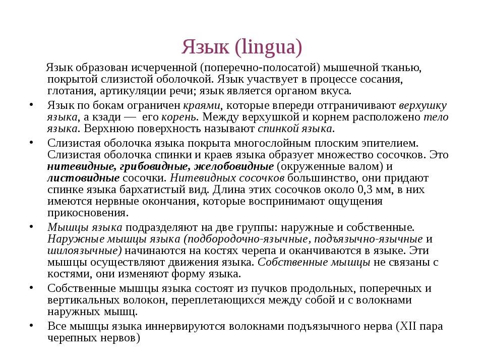 Язык (lingua) Язык образован исчерченной (поперечно-полосатой) мышечной ткань...