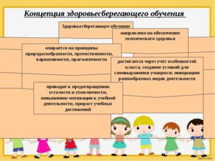 Концепция здоровьесберегающего обучения Здоровьесберегающее обучение направл