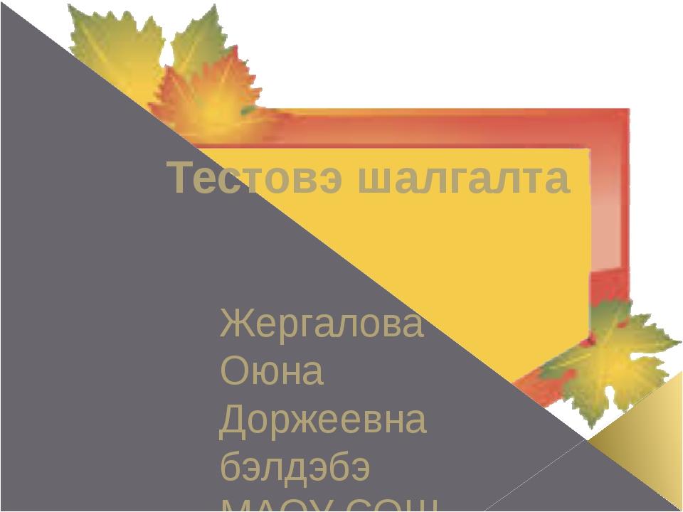 Тестовэ шалгалта Жергалова Оюна Доржеевна бэлдэбэ МАОУ СОШ №19 г.Улан-Удэ Win7: