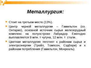 Металлургия: Стоит на третьем месте (13%). Центр черной металлургии – Гамильт