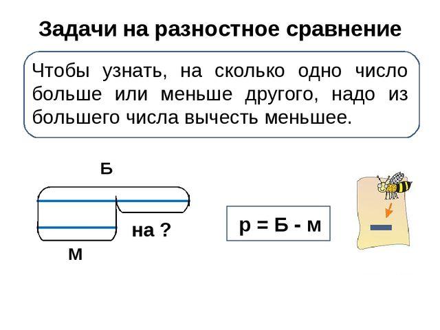 Задачи на разностное сравнение Чтобы узнать, на сколько одно число больше или...