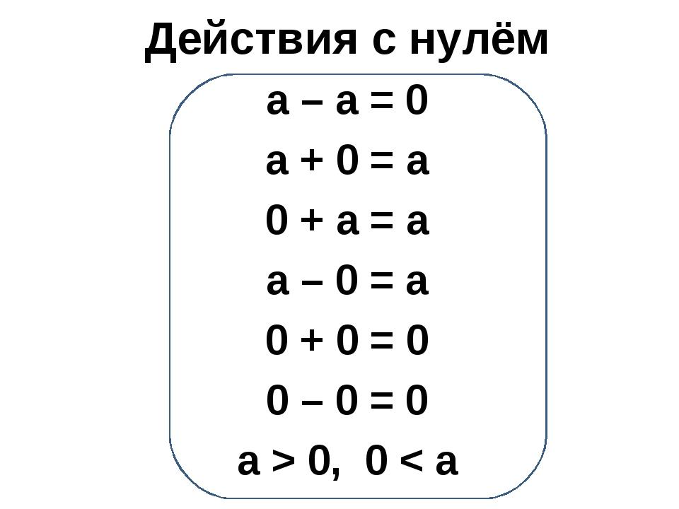 Действия с нулём а – а = 0 а + 0 = а 0 + а = а а – 0 = а 0 + 0 = 0 0 – 0 = 0...