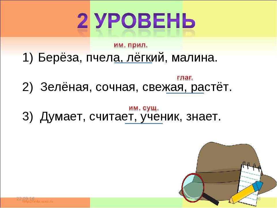 * * Берёза, пчела, лёгкий, малина.  2) Зелёная, сочная, свежая, растёт. 3)...