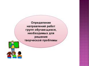 Определение направлений работ групп обучающихся, необходимых для решения твор