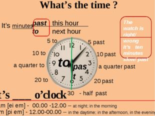 past this hour to next hour What's the time ? It's minutes to past 5 past 10
