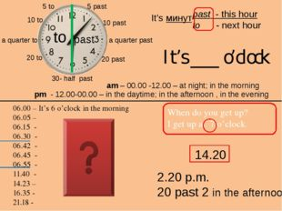 2.20 p.m. 20 past 2 in the afternoon 5 past 10 past a quarter past 20 past 30