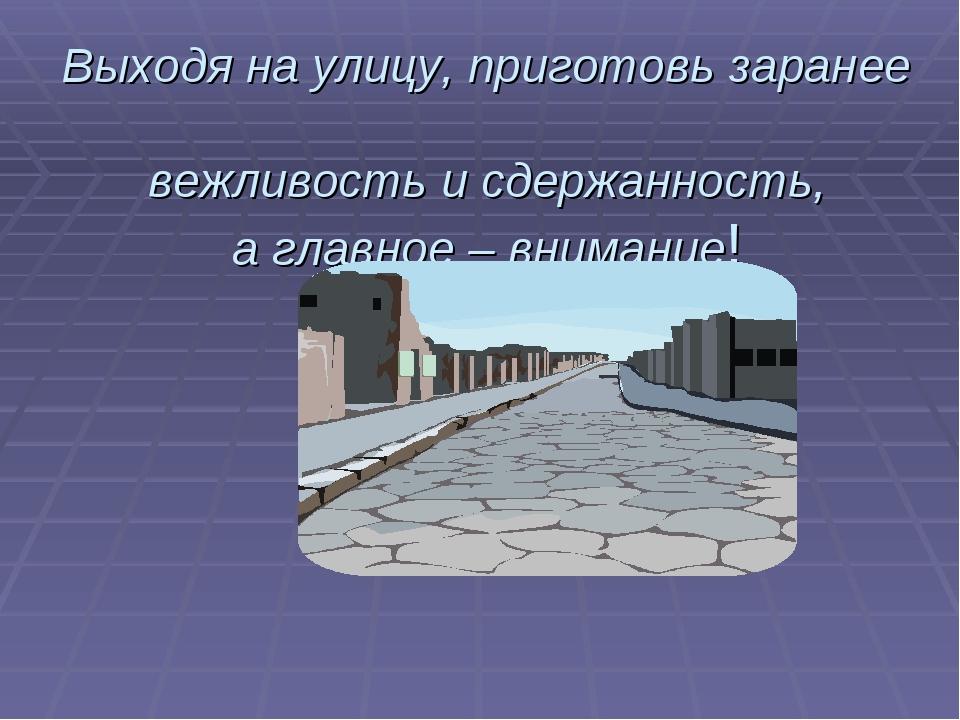 Выходя на улицу, приготовь заранее вежливость и сдержанность, а главное – вни...
