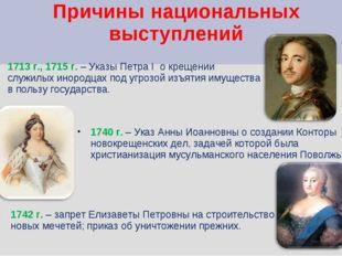 Причины национальных выступлений 1713 г., 1715 г. – Указы Петра I о крещении