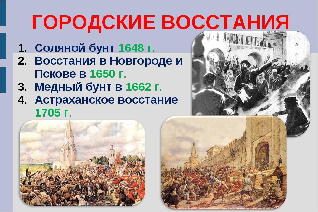 ГОРОДСКИЕ ВОССТАНИЯ Соляной бунт 1648 г. Восстания в Новгороде и Пскове в 165...