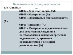 Балансовые счета для учета запасов 610 «Запасы» 61002 «Запасные части» (А); 6
