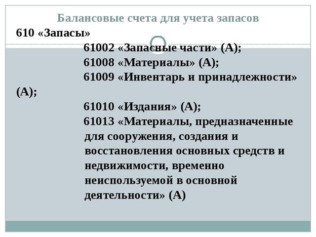 Балансовые счета для учета запасов 610 «Запасы» 61002 «Запасные части» (А); 6...