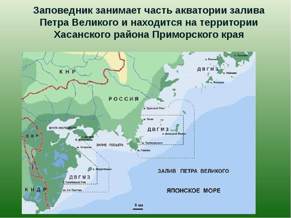 Заповедник занимает часть акватории залива Петра Великого и находится на терр...