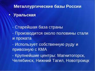 Металлургические базы России Уральская - Старейшая база страны - Производится