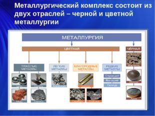 Металлургический комплекс состоит из двух отраслей – черной и цветной металлу