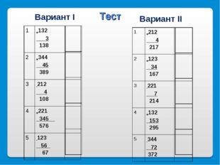 Вариант I Вариант II Тест 1+212 4 217 2+123 34 167  3-221 7 214 4+132