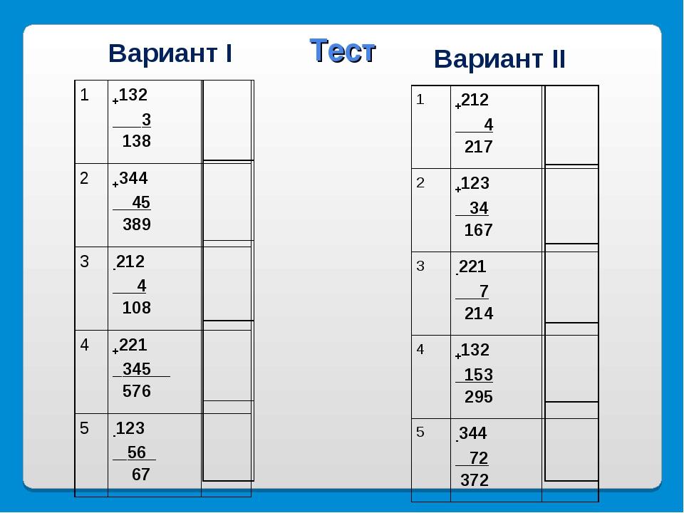 Вариант I Вариант II Тест 1+212 4 217 2+123 34 167  3-221 7 214 4+132...