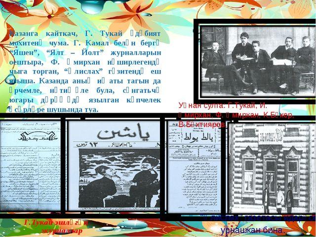 "Г.Тукай эшләгән журналлар ""Әлислах"" газетасы идарәсе урнашкан бина. Уңнан сул..."