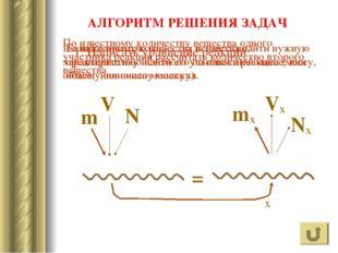 ? АЛГОРИТМ РЕШЕНИЯ ЗАДАЧ N m V ν Nx mx Vx ν x 1. Написать уравнение реакции П