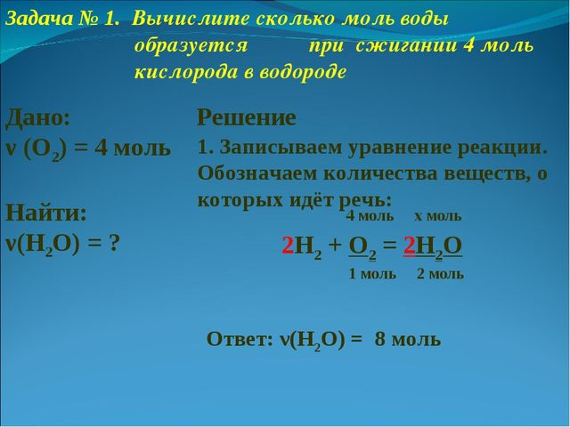 2H2 + O2 = 2H2O 4 моль x моль 1. Записываем уравнение реакции. Обозначаем кол...