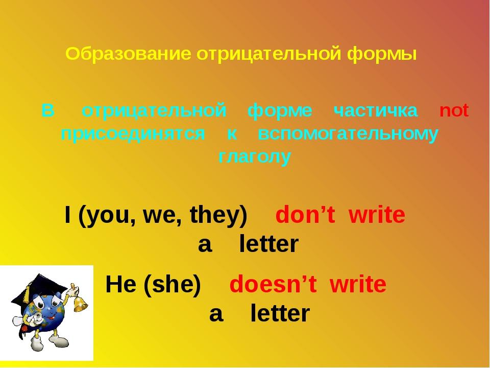 Образование отрицательной формы В отрицательной форме частичка not присоединя...