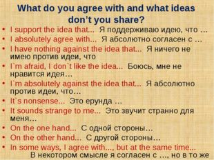 What do you agree with and what ideas don't you share? I support the idea tha