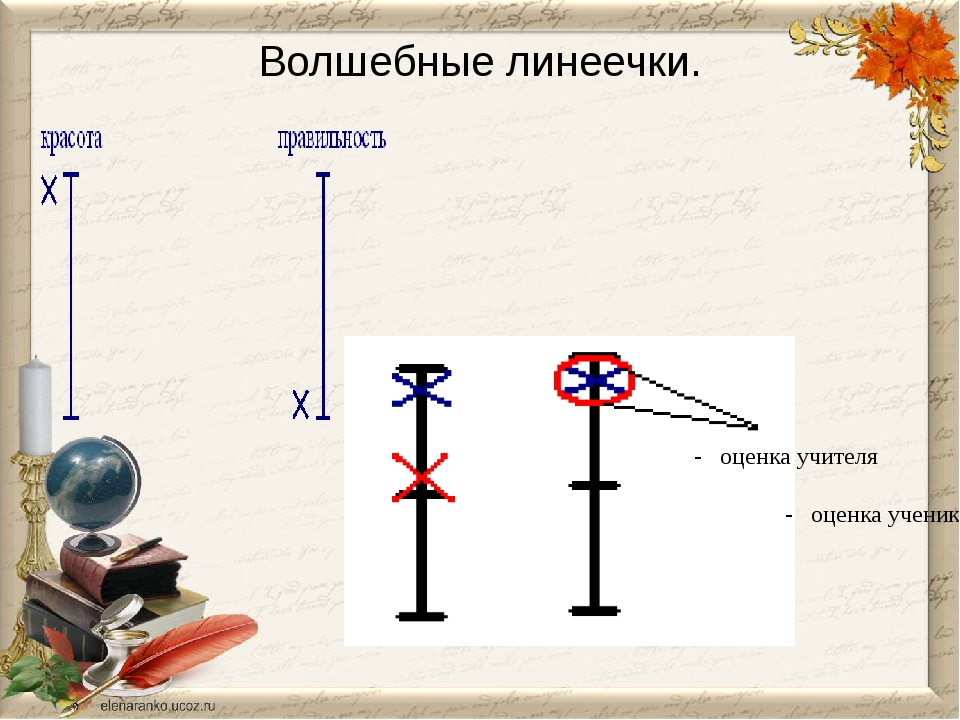 Волшебные линеечки. - оценка учителя - оценка ученика