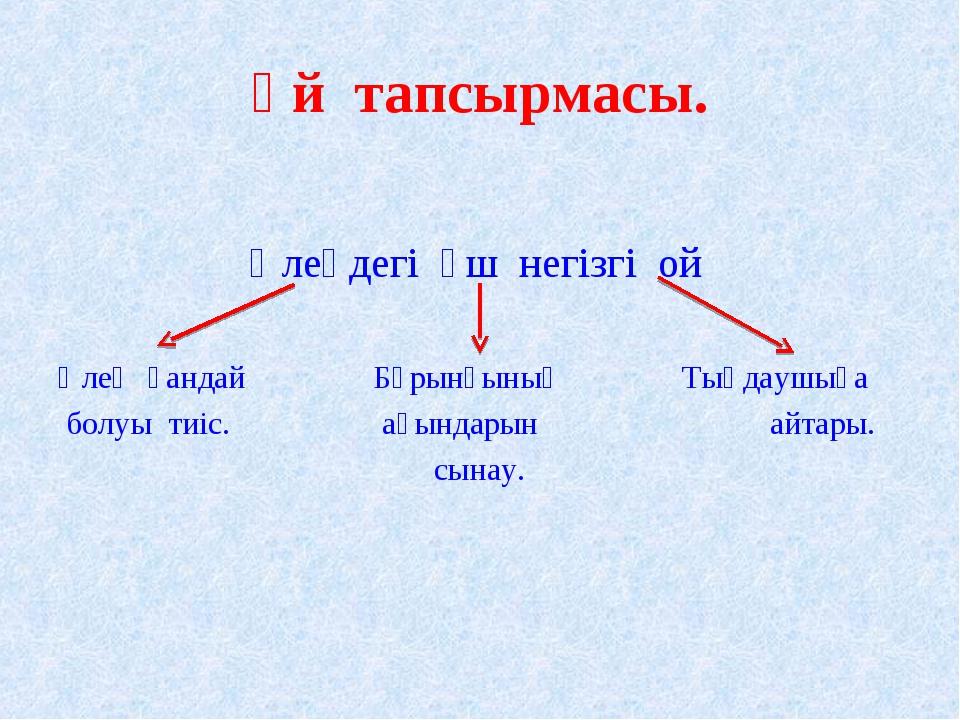 Үй тапсырмасы. Өлеңдегі үш негізгі ой Өлең қандай Бұрынғының Тыңдаушыға бо...