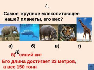 4. Самое крупное млекопитающее нашей планеты, его вес? а) б) в) г) д) б) сини