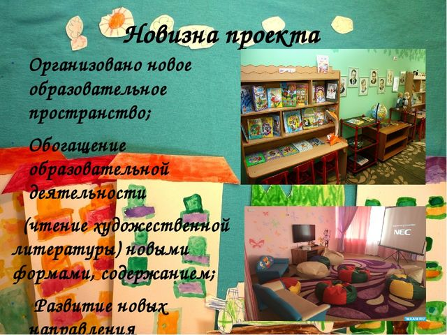 Новизна проекта Организовано новое образовательное пространство; Обогащение о...