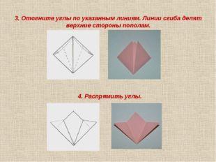 3. Отогните углы по указанным линиям. Линии сгиба делят верхние стороны попол