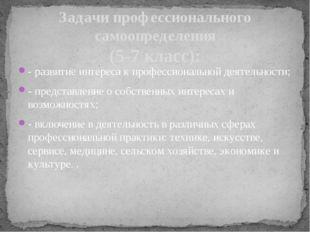 - развитие интереса к профессиональной деятельности; - представление о собств