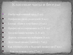 •Учеба твой главный труд.(5 кл) •Профессии твоих родителей ( 6 кл.) •Бесед