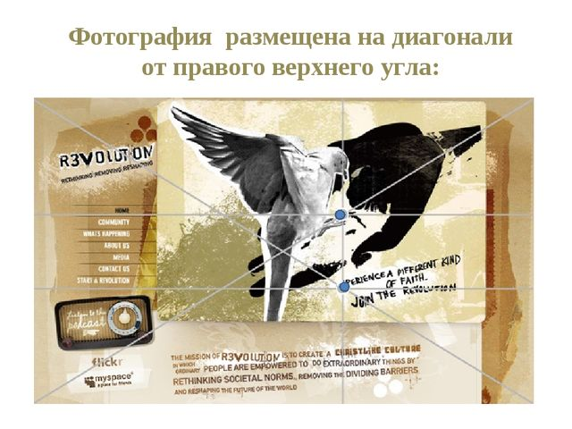 Фотография размещена на диагонали от правого верхнего угла: