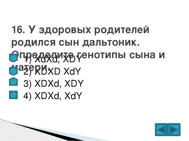 1) XdXd, XDY  2) XDXD XdY  3) XDXd, XDY  4) XDXd, XdY 16. У здоровых ро...
