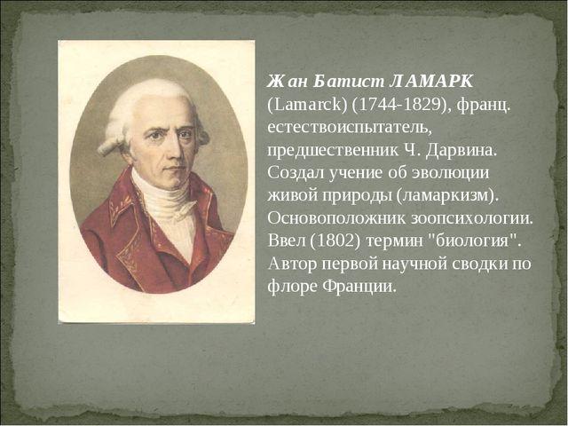 Жан Батист ЛАМАРК (Lamarck) (1744-1829), франц. естествоиспытатель, предшеств...