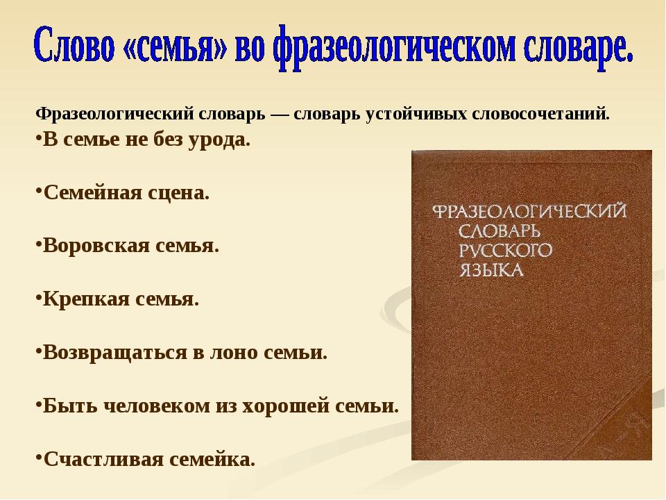 Фразеологический словарь — словарь устойчивых словосочетаний. В семье не без...