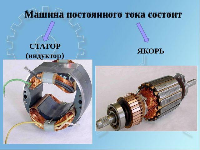 Машина постоянного тока состоит ЯКОРЬ СТАТОР (индуктор)