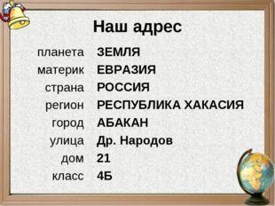 Наш адрес ЗЕМЛЯ ЕВРАЗИЯ РОССИЯ РЕСПУБЛИКА ХАКАСИЯ АБАКАН Др. Народов 21 4Б пл