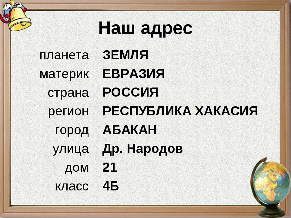 Наш адрес ЗЕМЛЯ ЕВРАЗИЯ РОССИЯ РЕСПУБЛИКА ХАКАСИЯ АБАКАН Др. Народов 21 4Б пл...