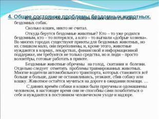 4. Общее состояние проблемы бездомных животных.  В одной только Москве по