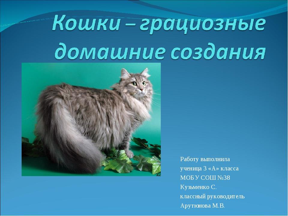 Работу выполнила ученица 3 «А» класса МОБУ СОШ №38 Кузьменко С. классный руко...