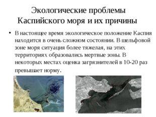 Экологические проблемы Каспийского моря и их причины В настоящее время эколог