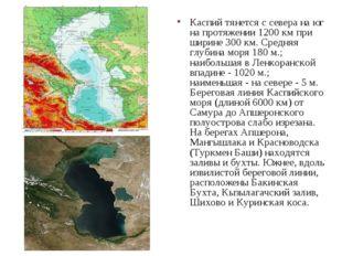 Каспий тянется с севера на юг на протяжении 1200 км при ширине 300 км. Средня