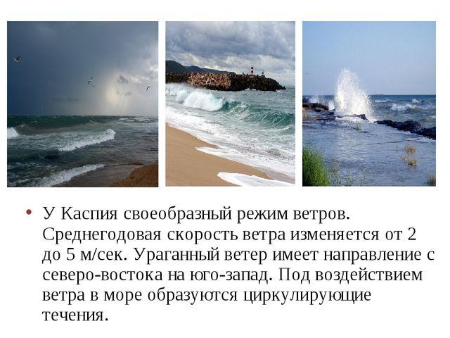 У Каспия своеобразный режим ветров. Среднегодовая скорость ветра изменяется о...