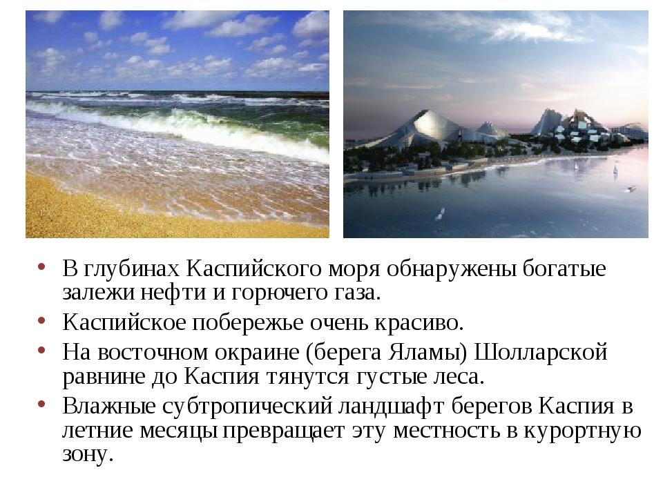 В глубинах Каспийского моря обнаружены богатые залежи нефти и горючего газа....