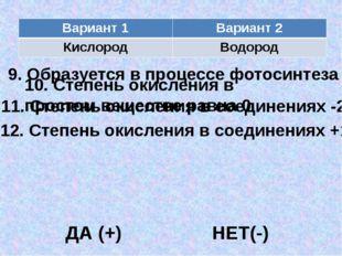 10. Степень окисления в простом веществе равна 0 9. Образуется в процессе фот