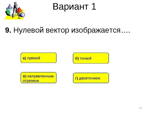Вариант 1 * 9. Нулевой вектор изображается…. б) точкой в) направленным отрезк...