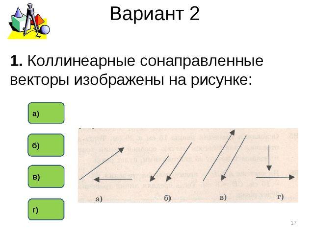 Вариант 2 1. Коллинеарные сонаправленные векторы изображены на рисунке: * б)...